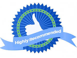 highly recommended text and thumb up clipart badge