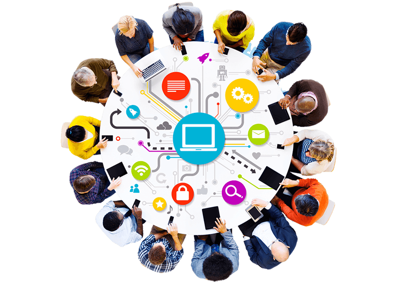 Seo specialists stand on a round table top view, working on different devices